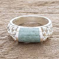 Jade band ring, 'Sweet Maya in Light Green' - Light Green Jade and Sterling Silver Band Ring