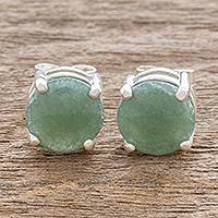 Jade stud earrings, 'Maya Sweets in Green' - Green Guatemalan Jade Stud Earrings