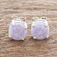 Jade stud earrings, 'Maya Sweets in Lilac' - Small Lilac Jade and Sterling Silver Stud Earrings