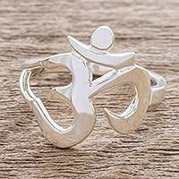 Sterling silver cocktail ring, 'Spiritual Journey' - Artisan Crafted Om Symbol Cocktail Ring