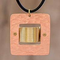 Copper and brass pendant necklace, 'Modern Metal' - Mixed Metal Pendant Necklace