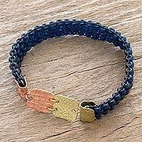 Copper-accented beaded stretch bracelet, 'Peten Blues' - Brass and Copper Accented Blue Bead Bracelet