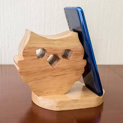 Wood cellphone holder, 'Nocturnal Friend' - Hand Carved Owl Cellphone Holder