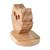 Wood cellphone holder, 'Nocturnal Friend' - Hand Carved Owl Cellphone Holder (image 2d) thumbail