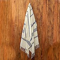 Cotton beach towel, 'Sweet Relaxation in Warm White' - Cotton Beach Towel with Indigo Stripes