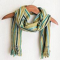 Cotton scarf, 'Naturally' - Striped 100% Cotton Hand Loomed Scarf