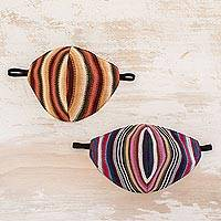 Hand loomed cotton face masks, 'Sierra Stripes' (pair) - Striped Cotton Two-Layer Face Masks (Pair)