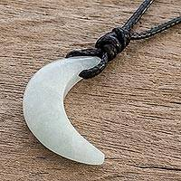 Jade pendant necklace, 'Pale Moon Crescent' - Crescent Moon Pale Green Jade Necklace