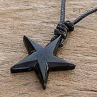 Jade pendant necklace, 'Heavenly Star in Black' - Adjustable Black Jade Star Pendant Necklace
