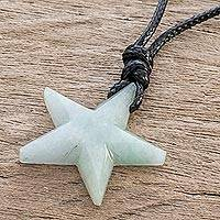 Jade pendant necklace, 'Heavenly Star in Pale Green' - Light Green Jade Star Necklace