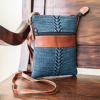 Leather-accented cotton shoulder bag, 'Comalapa Connection' - Blue and Teal Cotton and Leather Shoulder Bag