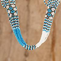 Long beaded torsade necklace, 'Turquoise and White Harmony' - Handmade Turquoise and White Beaded Necklace