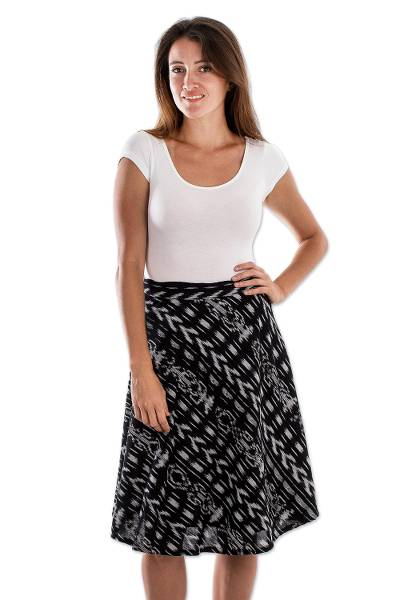 Cotton wrap skirt, 'Jaspe Jazz' - Black and White Jaspe Wrap Skirt