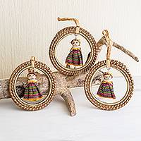 Pine needle ornaments, 'Golden Diversity' (set of 3) - Handmade Worry Doll Ornament Set (Set of 3)