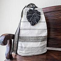 Cotton shoulder bag, 'Flowing River in Black' (15 inch) - Striped Black and Off-White Shoulder Bag (15 Inch)