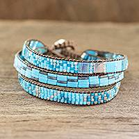 Beaded wristband bracelet, 'Solola Sky' - Sky Blue Beaded Bracelet from Guatemala
