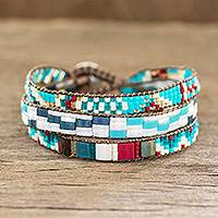 Beaded wristband bracelet, 'Solola Cheer' - Artisan Crafted Multicolored Wristband Bracelet