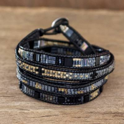 Beaded wrap bracelet, 'Solola Nights' - Wrap Bracelet Handmade in Guatemala