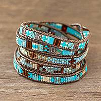 Beaded wrap bracelet, 'Solola Sunset' - Artisan Crafted Glass Bead Wrap Bracelet
