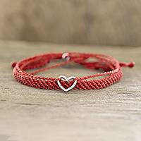 Macrame wrap bracelets, 'All Heart' (pair) - Adjustable Red Macrame Bracelets (Pair)