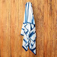 Tie-dyed cotton beach towel, 'Beyond the Sea' - Indigo and White Tie Dyed Beach Towel