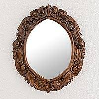 Wood wall mirror, 'Primavera' - Guanacaste Wood Hand-carved Wall Mirror From Costa Rica