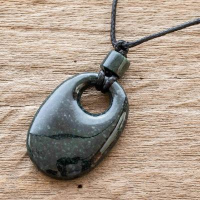 Jade pendant necklace, 'Ovalo' - Guatemalan Natural Dark Green Jade Pendant Necklace
