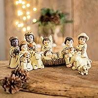 Ceramic nativity scene, 'Bethlehem in El Salvador' (9 pieces) - Pale Yellow Ceramic Christmas Nativity Scene (9 Pieces)