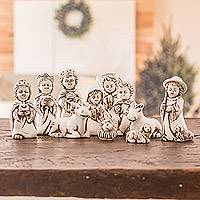 Ceramic nativity scene, 'Antique El Salvador Bethlehem' (11 pieces) - Antique Style White Ceramic Nativity Scene (11 Pieces)
