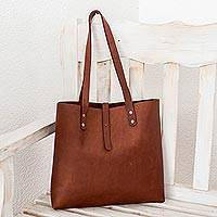 Leather tote bag, 'Everyday Beauty' - Dark Brown Leather Tote from El Salvador