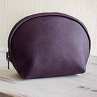 Leather cosmetics case, 'Luxe Life in Purple' - Hand Crafted Purple Leather Makeup Case