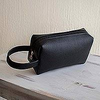 Leather toiletry case, 'Man of the World in Black' - Handmade Black Leather Toiletry Case for Men