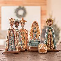 Wood nativity scene, 'A Midnight Clear' (7 pieces) - Nicaraguan 7-Piece Handcrafted Cedar Nativity Scene