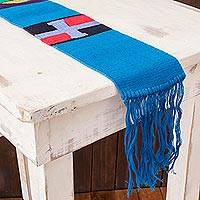Cotton table runner, 'Solola Totem in Cyan' - Hand Loomed Multicolored Table Runner