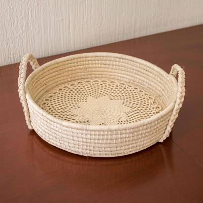 Natural fiber basket, 'Tradition in my Kitchen' - Hand Crafted Palm Fiber Basket or Tray