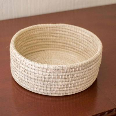 Natural fiber basket, 'Ancient Traditions' - Hand Woven Yagua Palm Basket