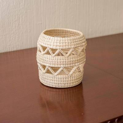 Natural fiber basket, 'Zigzag' - Small Hand Woven Basket