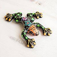 Ceramic sculpture, 'Colorful Frog' - Hand Painted Ceramic Frog Sculpture