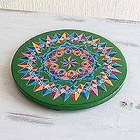 Wood trivet, 'Costa Rican Mandala in Green' - Hand Painted Wood Trivet
