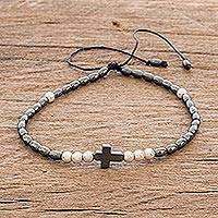 Men's hematite beaded bracelet, 'Hope and Salvation' - Hematite Beaded Men's Cross Bracelet