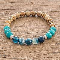 Multi-gemstone beaded stretch bracelet, 'Sand and Surf' - Unisex Multi-Gemstone Stretch Bracelet