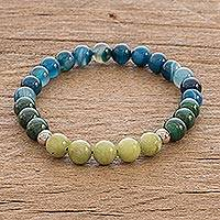 Multi-gemstone beaded stretch bracelet, 'Costa Rican Colors' - Beaded Multigem Unisex Stretch Bracelet