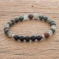 Agate beaded stretch bracelet, 'Colors of Costa Rica' - Multicolored Agate Beaded Stretch Bracelet
