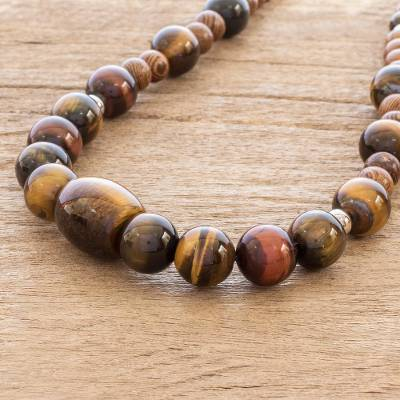Tiger's eye and wood beaded necklace, 'Earth's Treasure' - Handmade Wood and Tiger's Eye Necklace