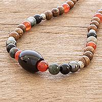 Wood and multi-gemstone beaded necklace, 'Arenal' - Multi-Gemstone and Wood Bead Necklace