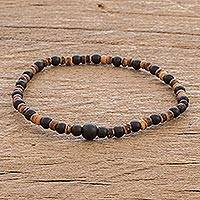 Onyx and coconut shell beaded stretch bracelet, 'Coco' - Beaded Coconut Shell and Onyx Bracelet