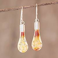 Art glass dangle earrings, 'Amber Honey' - Handmade Glass and sterling Silver Earrings