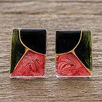 Resin button earrings, 'Rosa Abstracta' - Central American Sterling Silver and Resin Button Earrings