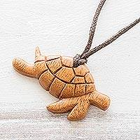 Reclaimed wood pendant necklace, 'Turtle Time' - Hand Carved Turtle Necklace