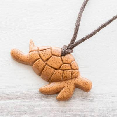Reclaimed wood pendant necklace, Turtle Time